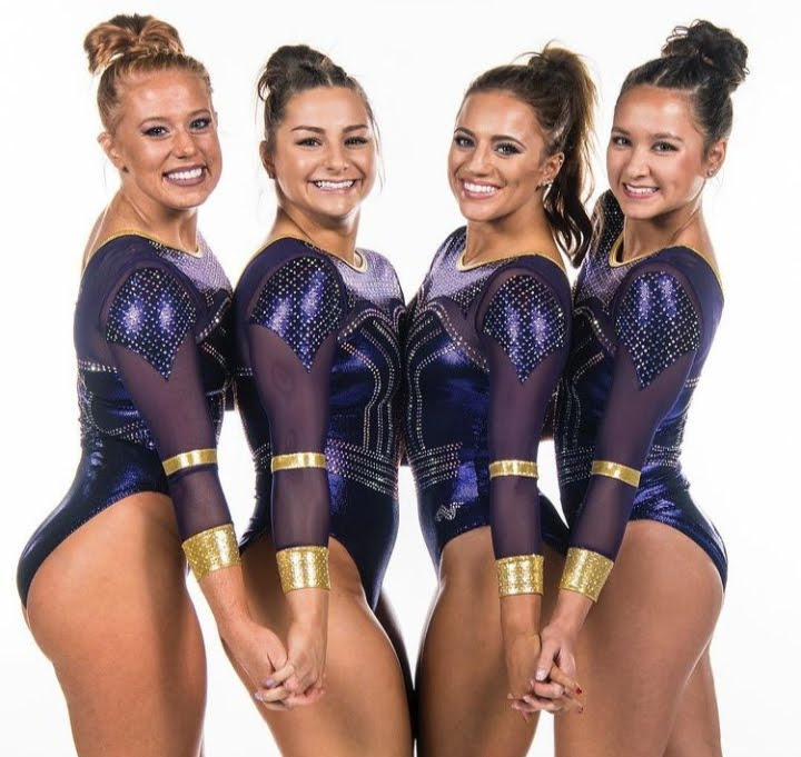 LSUs 2019 Senior class poses in a metallic purple and gold leo