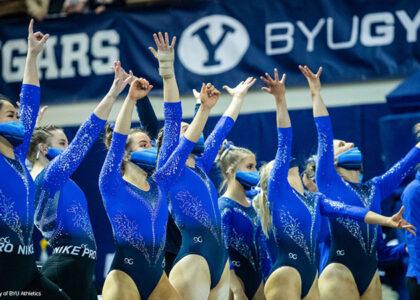 BYU team cheering