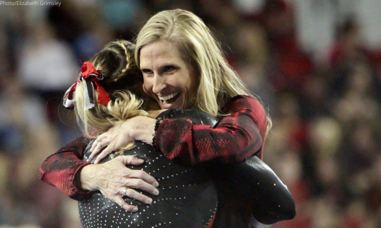 Danna Durante North Carolina hugging Brandie Jay at Georgia